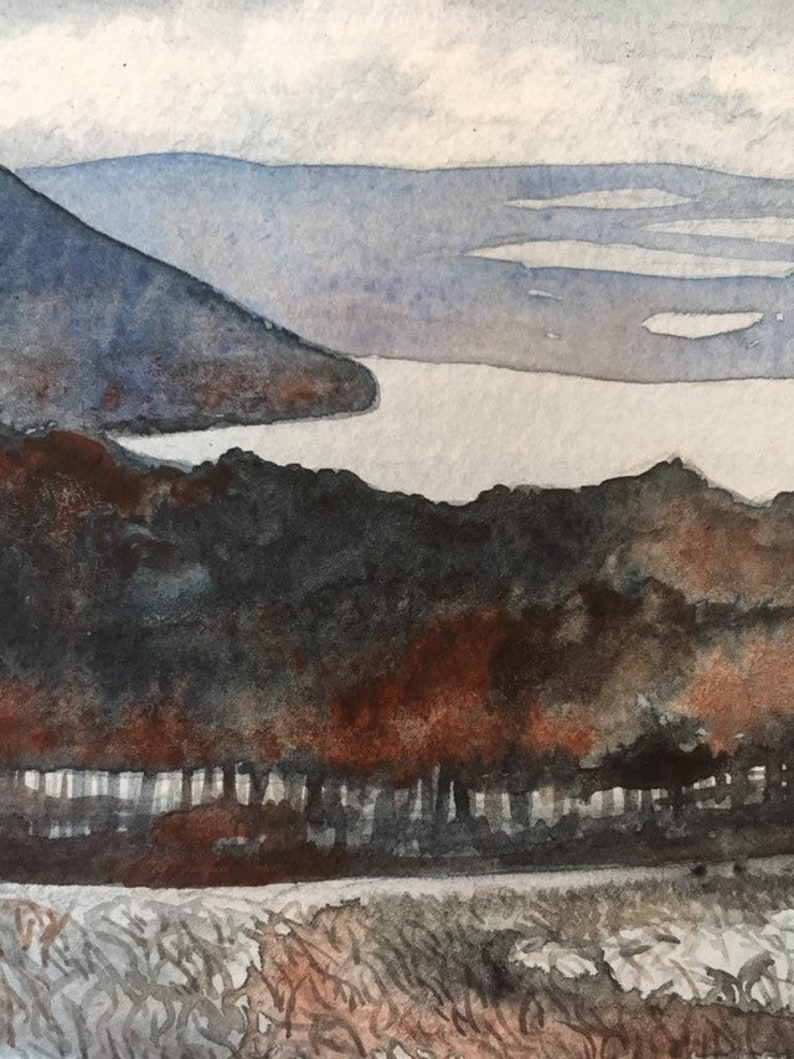Winter original watercolor painting Keuka Bluff
