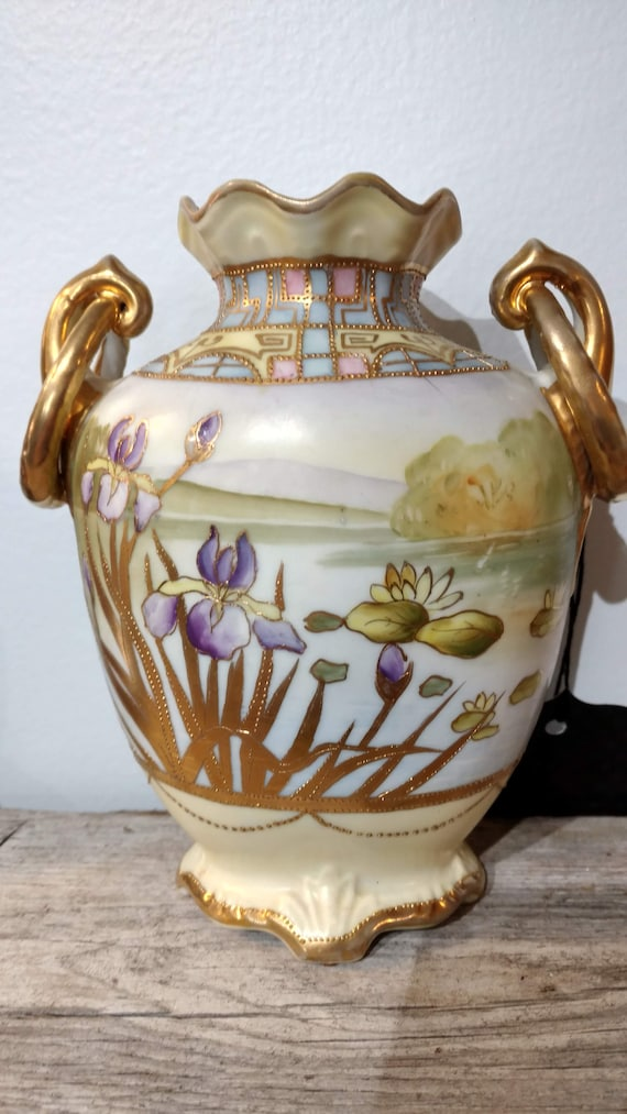Antique Nippon Vase Hand Painted Irises Water Lilies W Gold Etsy