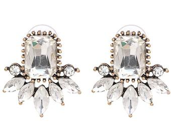 Art Deco Vintage Pearl + Gold Fan Stud Earrings