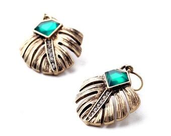 Tropical Green + Gold Palm Leaf Earrings