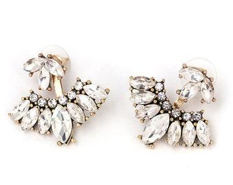 Peekaboo Vintage Crystal + Gold Fan Stud Earrings