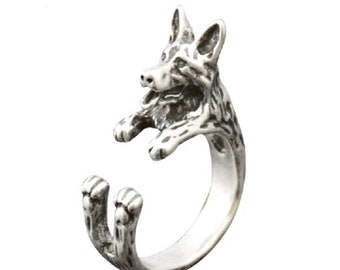 adjustable German Shepherd ring Deutscher Sch\u00e4ferhund jewelry gifts Pet Silver German Shepherd ring 925 Alsatian ring Berger hug ring