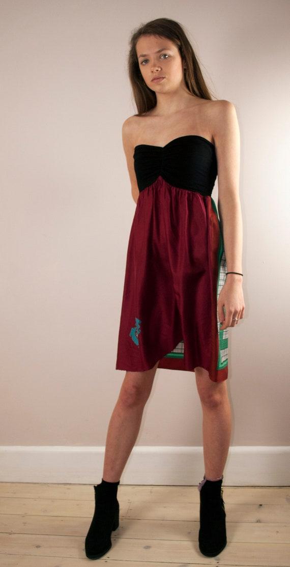 7f8b7524131 Vintage Silk Scarf Strapless Bandeau Summer Dress Size Small.