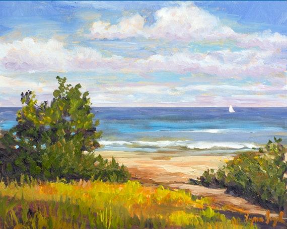 Beach Artbeach House Artlandscape With Oceanocean Etsy