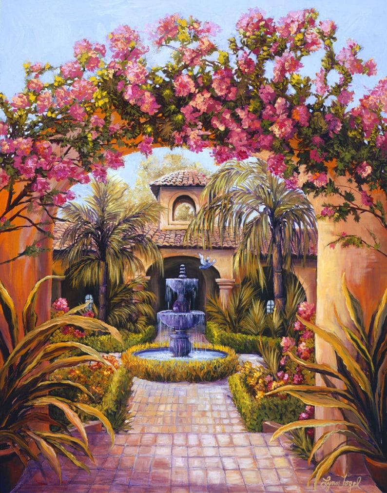 ba96479cc Mediterranean art printsSpanish Style Courtyard art | Etsy