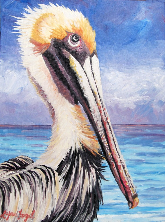 Pelican wall printpelican art on canvaspelican painting on | Etsy
