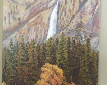 Bridalveil Falls painting, Yosemite Valley painting,Yosemite National Park, Bridalveil Falls, Bridal veil Falls oil painting,Yosemite prints