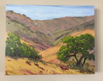 Landscape oil painting, Santa Ynez Valley,Mountain landscape, landscape painting, California plein air painting, California landscape