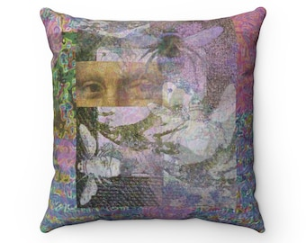 BoHo Decor, Bumble Bee Print, Purple Print, Abstract Art, Insect Art, Square Pillow Case