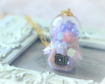 Mini bubble gum dispenser necklace, candy dispenser necklace, handmade needle felt whimsical jewelry, pastel purple color , gift under 25