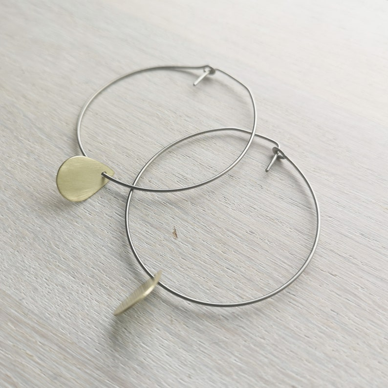 Titanium hoop earrings 0.8mm 20ga Delicate boho threader hypoallergenic hoops Brass tear drop