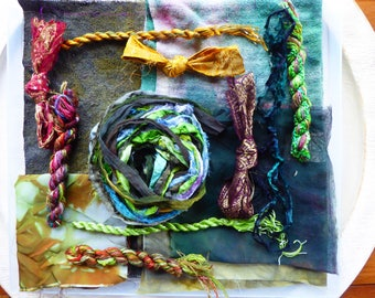 Hope Jacare Creative Textiles Hand dyed silk fabric, thread and recy. sari ribbon pack  - Large 10