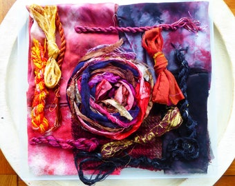 Hope Jacare Creative Textiles Hand dyed silk fabric, thread and recy. sari ribbon pack  - Large 02