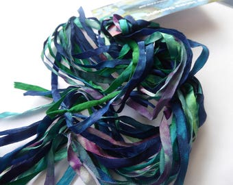 5 x 2m hand dyed silk embroidery ribbons 4mm wide - SER90