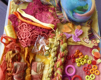 Hope jacare - Creativity pack  - hand dyed cotton threads, fabric and other goodies - CP31