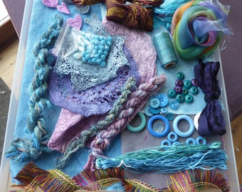 Hope jacare - Creativity pack  - hand dyed cotton threads, fabric and other goodies - CP27