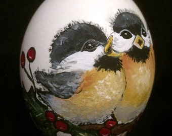 Four Calling Birds, Hand Painted Christmas Ornament