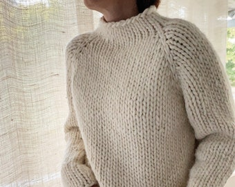 Beginner Friendly Knitting Pattern Gallant Sweater Chunky cropped sweater top-down