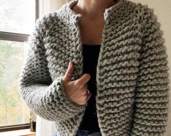 Beginner Friendly Top Down Knitting Pattern Cropped Sweater Pattern The Harper Wool Jacket