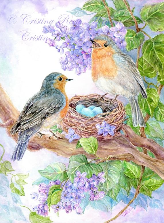 Girl Holding Blue Speckled Egg In Bird Art Print Home Decor Wall Art Poster C