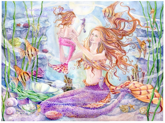 Mermaid Art Print Mother And Child Angel Fish Mermaid With Etsy