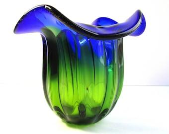 Vintage, Hand Crafted, Blue & Green Glass Vase, Art Form