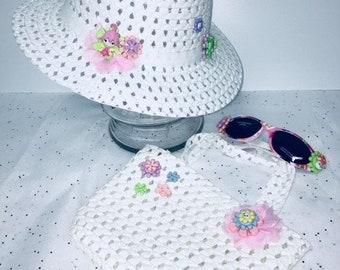 Fairy Garden Hat, Purse, Sunglasses Set, Girls Tea Party Hat, Child Spring Garden Hat,Fairy Garden Hat,Magical Unicorn Hat