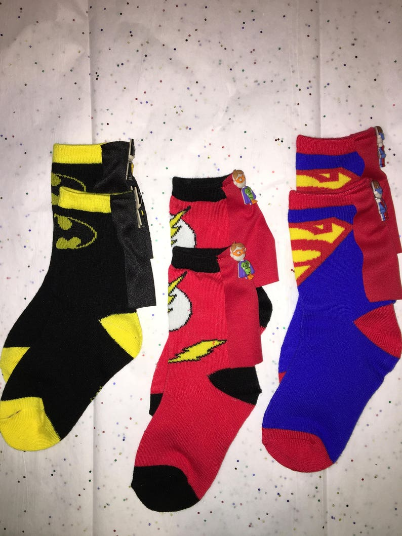 bc0be6ae281 Kid Unisex SuperHero Cape Socks Kids Batman SocksThe Flash