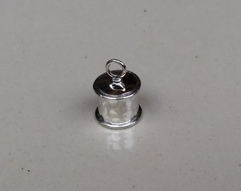 Sterling silver round endcap 8 mm with wire and hammer finished - EC998876