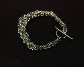 Sterling silver silver Byzantine bird cage chain bracelet with toggle 3mm to 8mm handmade chain bracelet