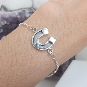 Sterling silver equestrian bracelet with Birthstone CZ 1.75 mm BL227794