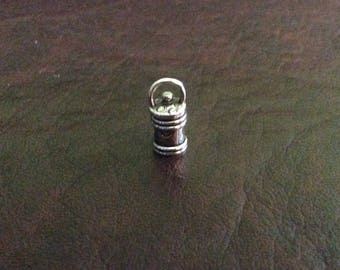 Sterling silver round endcap swivel top cap hammer finished and silver wire 5.3 mm - EC998869