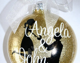 Engagement Gift / Personalized Christmas Ornament / Engagement / Engaged Couple / Glass Ornament