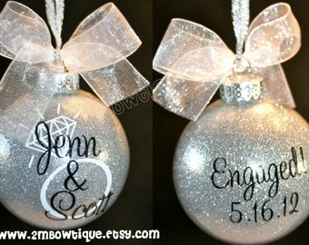 Engagement Gift Idea / Christmas Ornament for Engagement / Engaged Couple / Engagement Ornament / Glass.