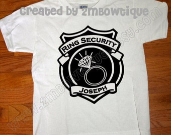 Gift Idea of Ring Bearer. Ring Security.... Ring Bearer T-Shirt. Free Personalization.