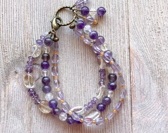 3736 Amethyst and Citrine Triple Strand Bracelet