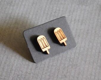 Ice Pop Stud Earrings : Popsicle Wood Laser Earrings
