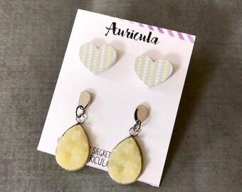 Spring Earring Set : Yellow Heart Druzy
