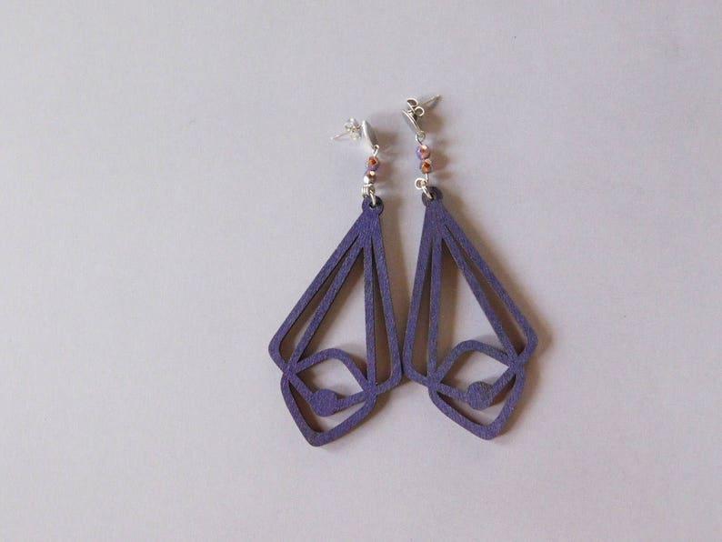 Beaded Laser Cut Dangles Violet Wood Earrings
