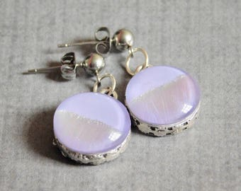 Lilac Glass Earrings : Vintage Style Dichroic  Jewelry