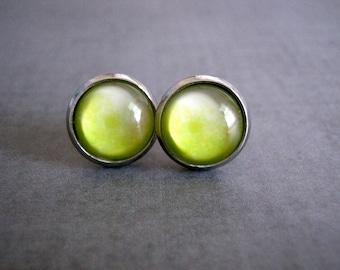 Ombre Green Stud Earrings : Glass Photo Jewelry