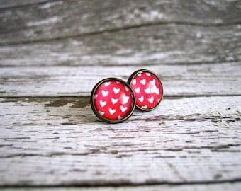 Heart Print Stud Earrings : Red Glass Jewelry