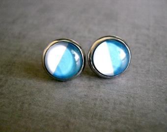 Half Blue White Stud Earrings