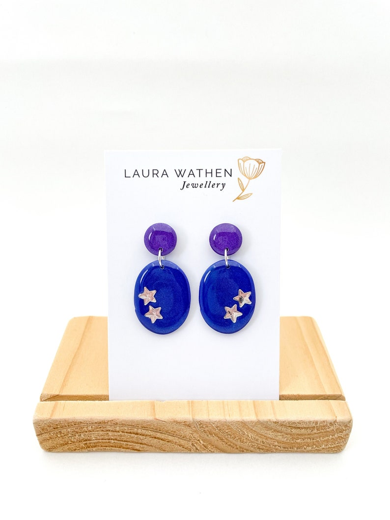 Blue and Purple Oval Earrings with Stars
