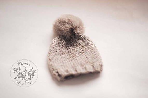 Tan Winter Beanie Pom Pom Hat Photography Prop Bonnet Knit Hat  b26077a42d0