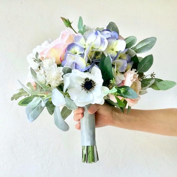 Wedding Bouquet Silk Bouquet Blue Bouquet Bride Flowers Etsy