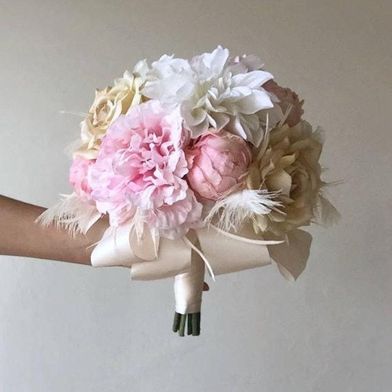 Brautstrauss Rosa Beige Champagner Pfingstrosen Rosen Etsy