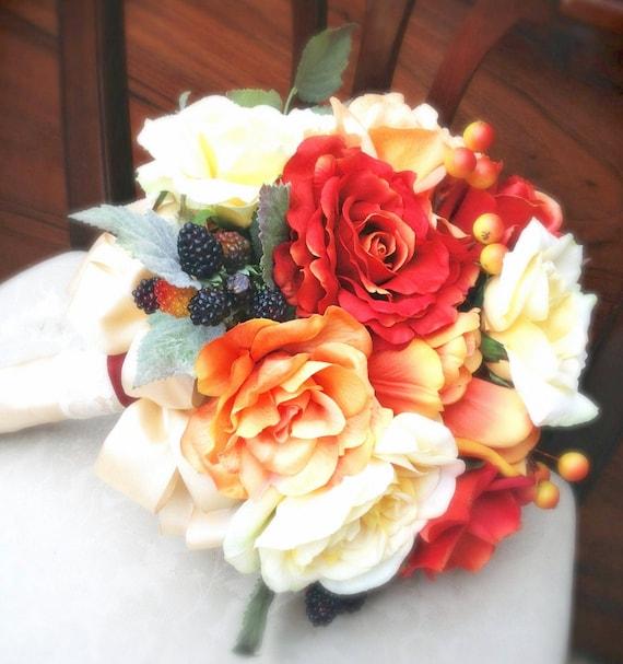 artificia flower wedding bridal bouquet yellow orange vintage rose hydrangea etc scculent