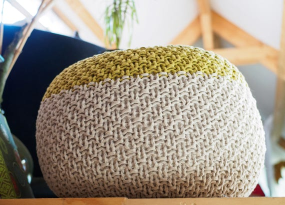 BUMS FEET 40 Knitted Pouf Ottoman Foot Stool Floor Pillow Etsy Gorgeous How To Knit A Pouf Cover