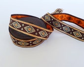 25mm-1 inches exotic ethnic brown and orange jacquard ribbon, woven jacquard trim in brown color by the meter